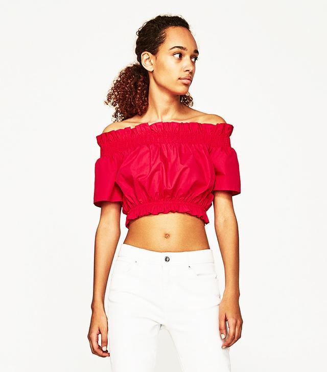 zara red off the shoulder crop top