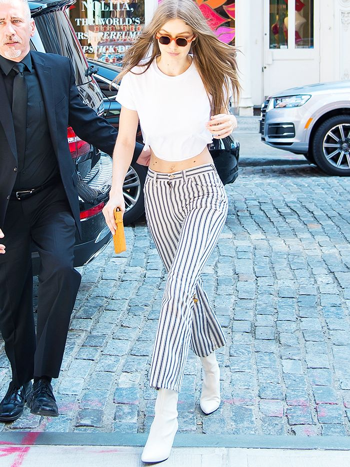 Gigi Hadid white boot trend: Gigi Hadid in New York