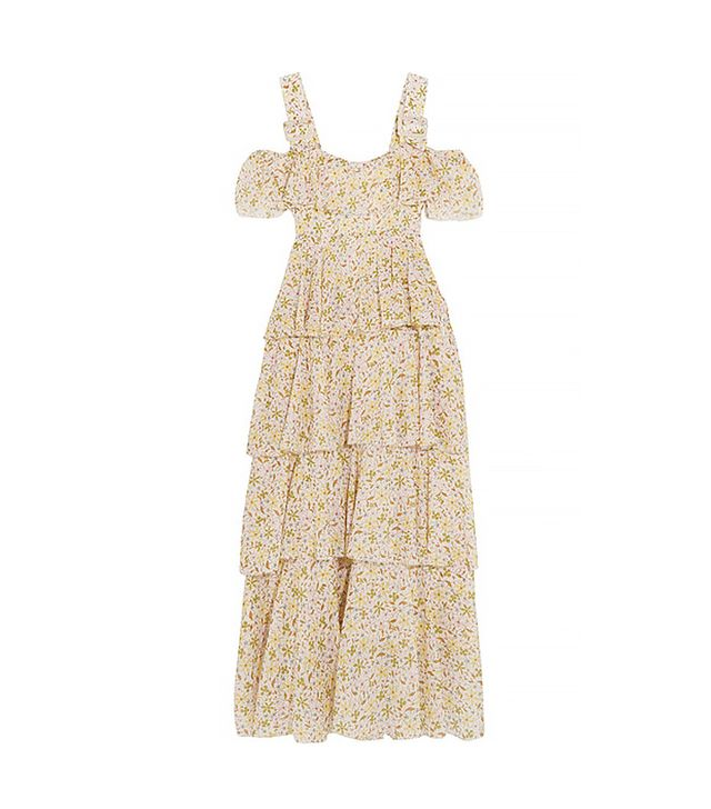 Cold-shoulder Tiered Floral-print Cotton-voile Dress