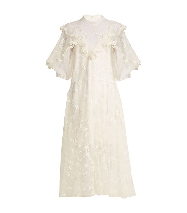 Chloé Ruffled Embroidered-Tulle Midi Dress