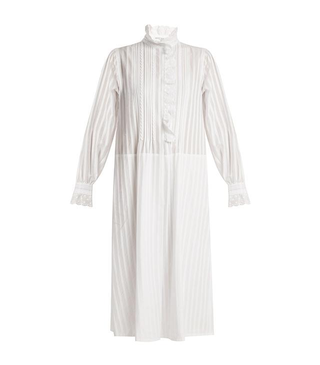 Sonia Rykiel Striped Cotton-Voile High-Neck Dress