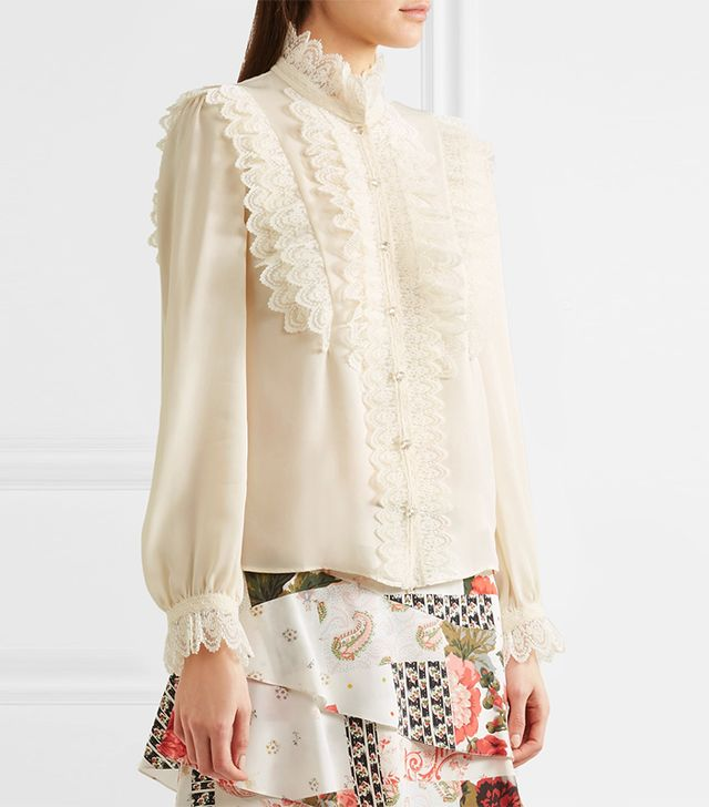 Ramona Ruffled Lace-trimmed Silk-georgette Blouse