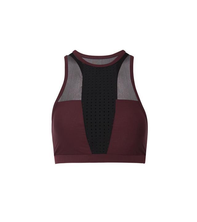 Mesh-paneled Perforated Stretch Sports Bra