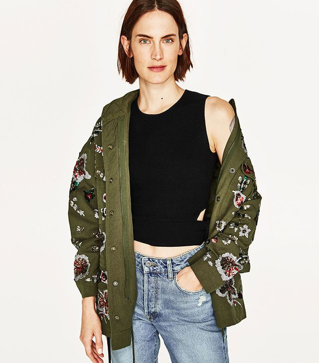 Zara Limited Edition Embroidered Parka