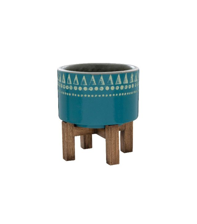 Target Earthenware Wood Base Planter