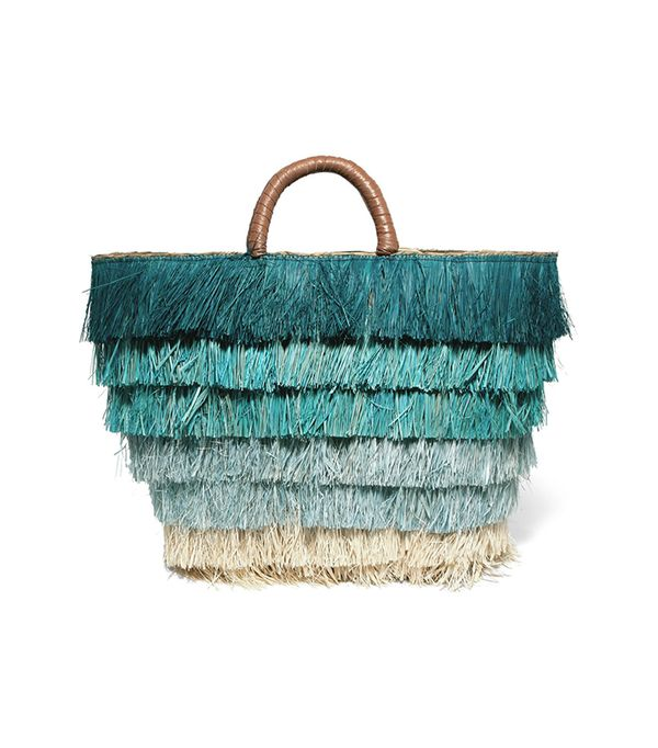 Pinata Leather-trimmed Fringed Straw Tote