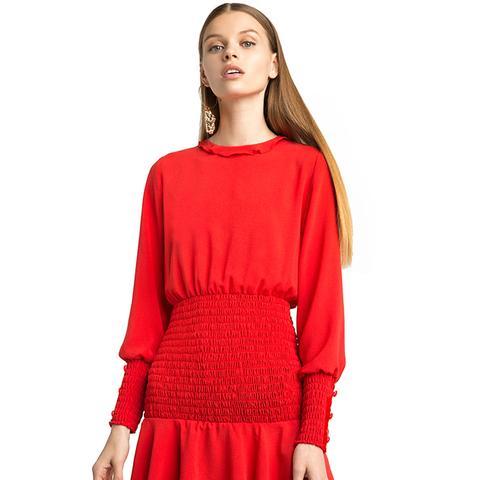 Beatrice Red Smocked Dress
