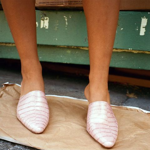 Andrea Mules in Pearly Faux Croc