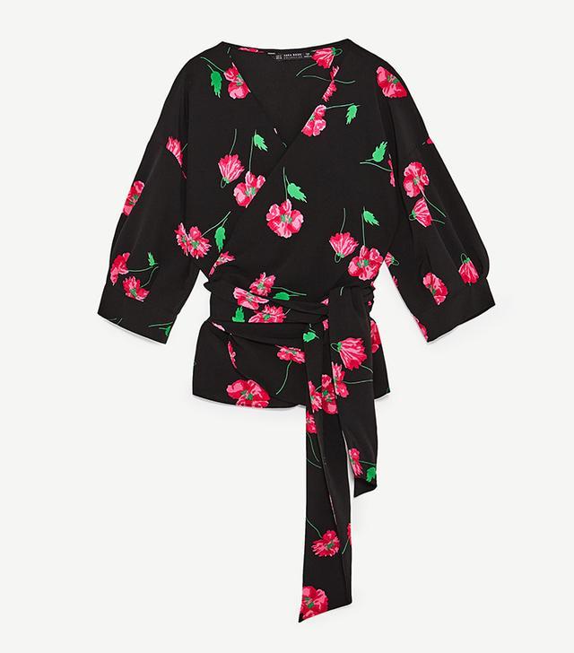 Zara Floral Print Crossover Shirt