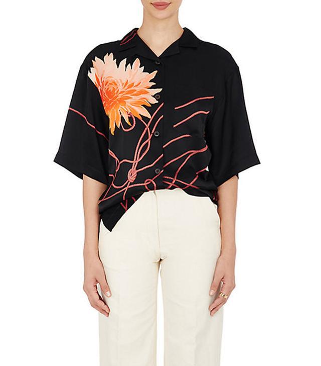 Dries Van Noten Cruz Silk Satin Shirt