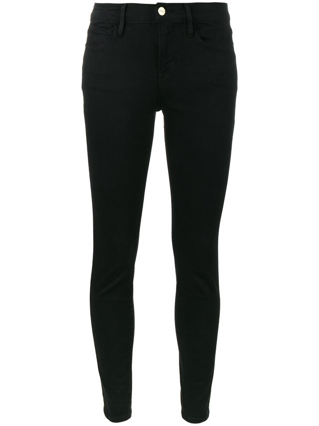 Frame Denim Le Color Black Mid Rise Skinny Jeans