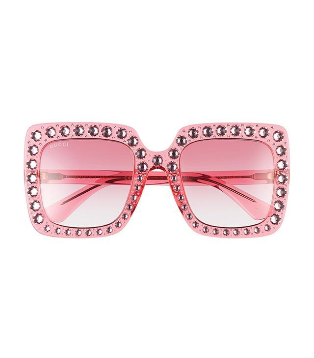 53Mm Crystal Embellished Square Sunglasses - Pink/ Pink