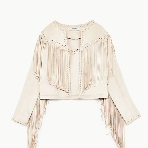 Faux Suede Jacket With Fringe