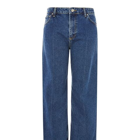 Mid Wash Wide Leg Crop Jeans