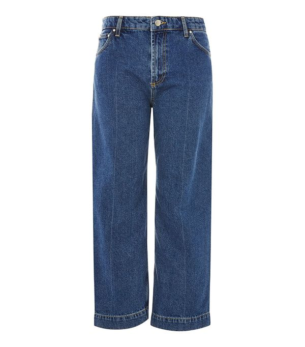 Mid Wash Wide Leg Crop Jeans by Boutique