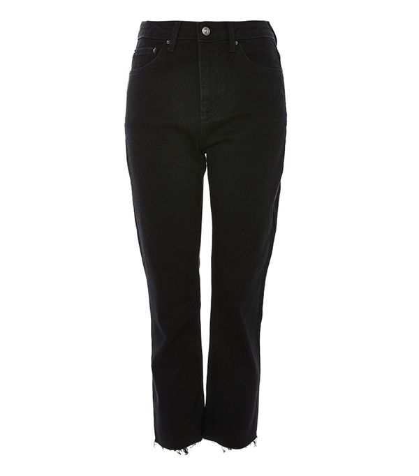 PETITE Black Raw Hem Cropped Jeans