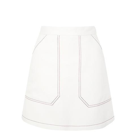 Contrast Seam A-Line Skirt