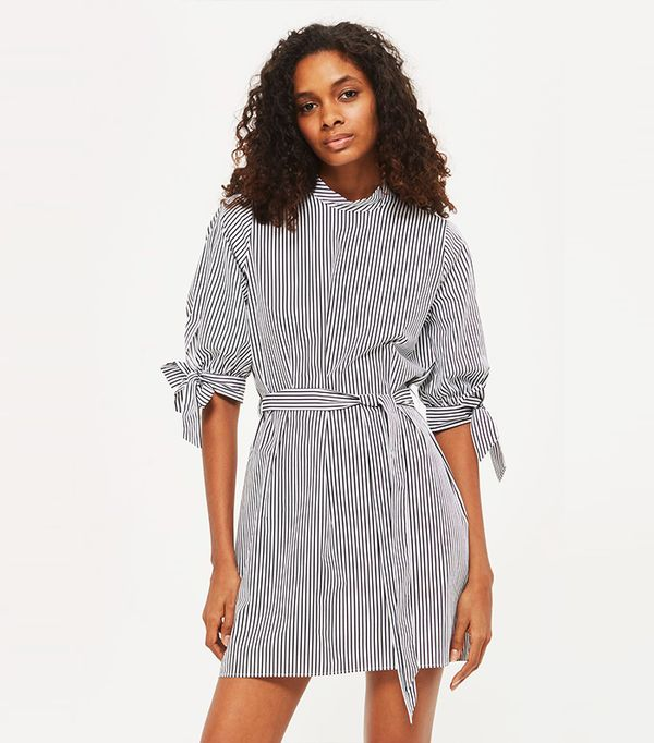 Stripe Poplin High Neck Shirt Dress