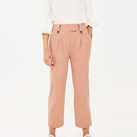 Button Tab Cropped Trousers