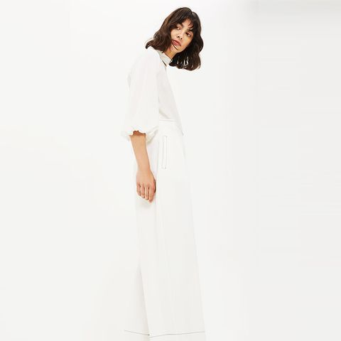 Topstitched Wide Leg Trousers