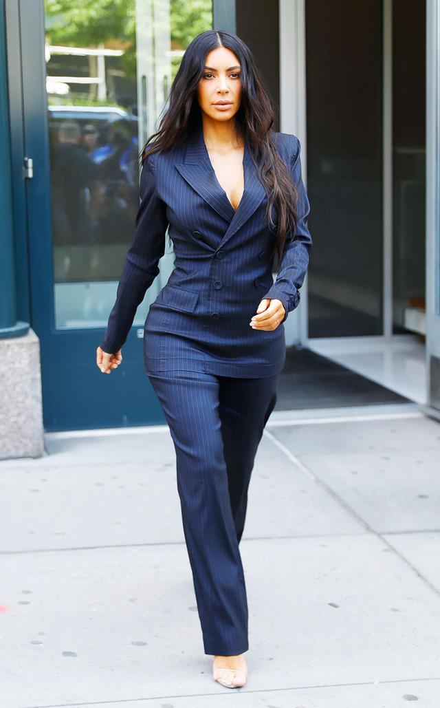 Kim Kardashian navy pinstripe suit