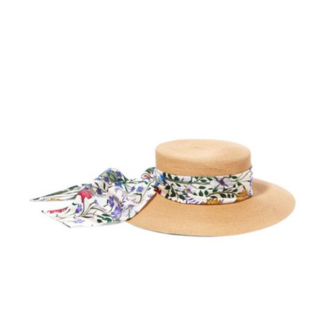 Floral-Print Silk Satin-Trimmed Woven Paper Hat