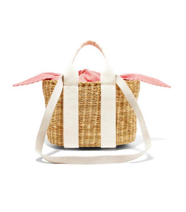 Cabana Mini Straw And Striped Cotton-canvas Tote