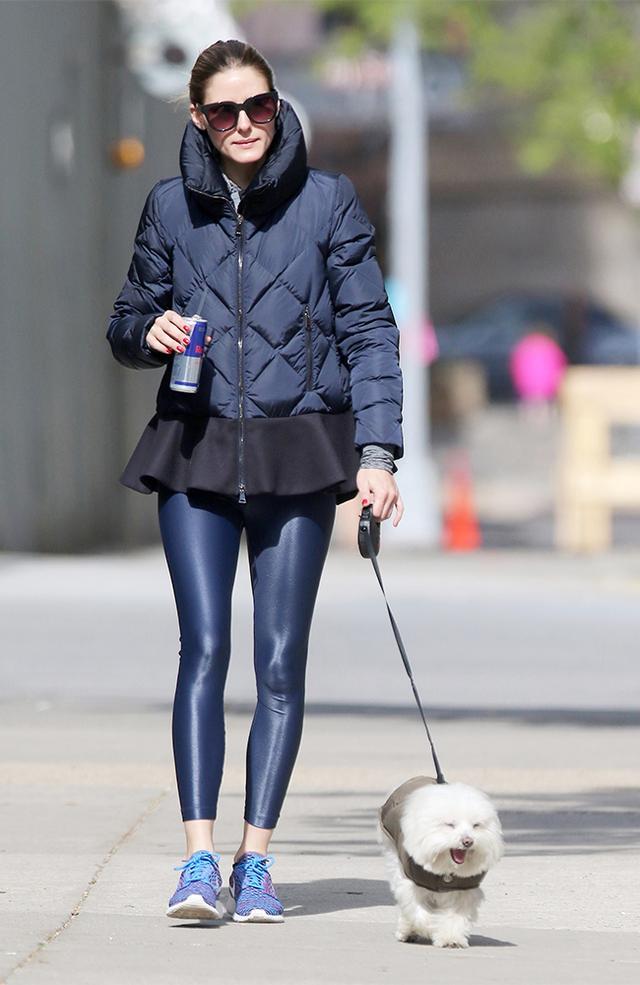 On Olivia Palermo: Moncler jacket; Koral Activewear Lustrous Leggings in Midnight (£70); Nike sneakers.