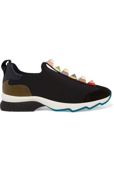 Embellished Suede And Lizard-effect Leather-trimmed Neoprene Sneakers