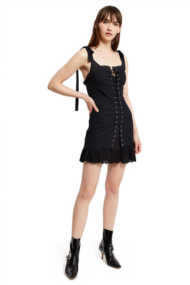 Daisy Broderie Lace-Up Dress