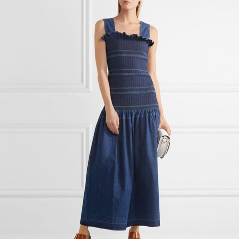 Ruffled Smocked Denim Maxi Dress