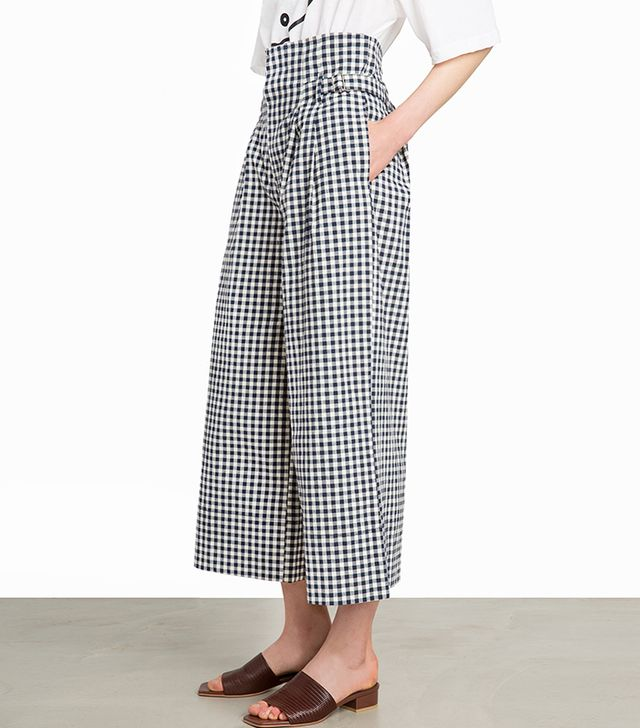 Pixie Market Navy Gingham High-Waisted Culottes