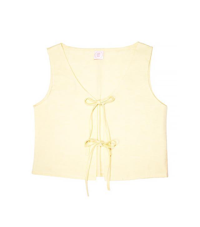 Lisa Says Gah Capri Linen Tie Top