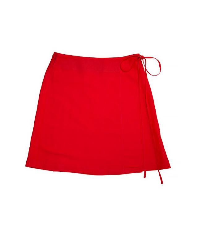 Side Party Season Mini Wrap Linen Skirt