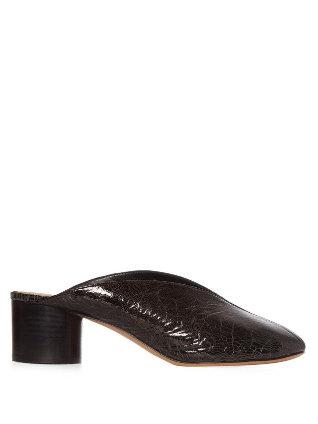 Measha cracked-leather mules