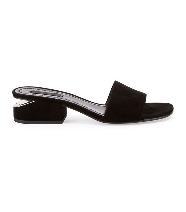Lou Suede Block-Heel Mule
