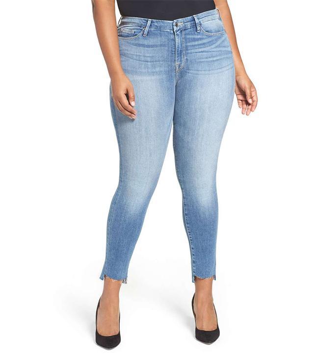 Plus Size Women's Good American Good Legs High Rise Raw Step Hem Skinny Jeans