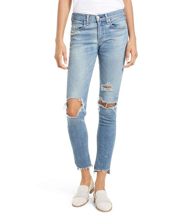 Women's Rag & Bone/jean Ripped Step Hem Skinny Jeans