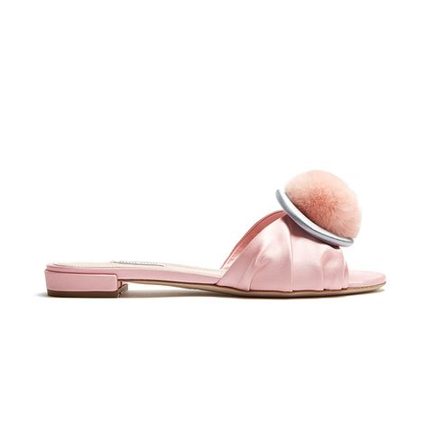 Fur-Pompom Satin Slides