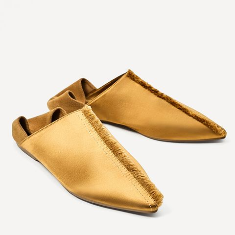 Frayed Flat Satin Slippers