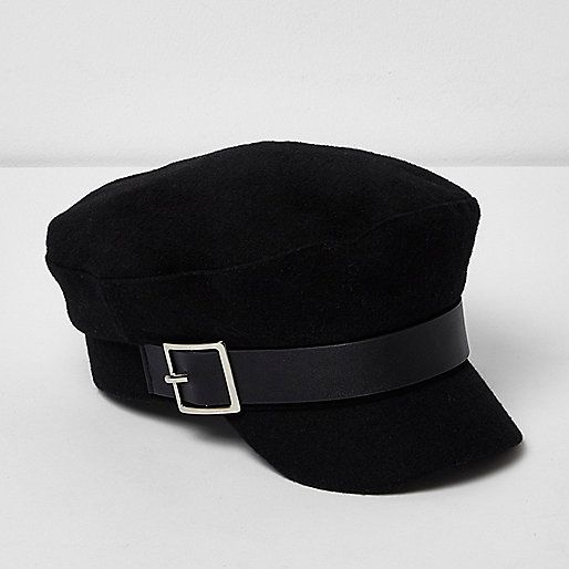 River Island Black Buckle Baker Boy Hat