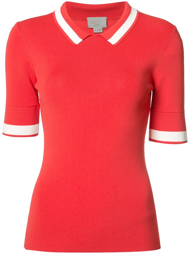 contrast polo top
