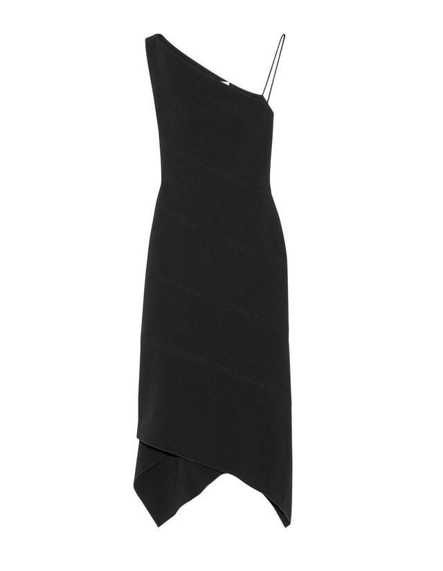 One-shoulder Paneled Stretch-crepe Midi Dress