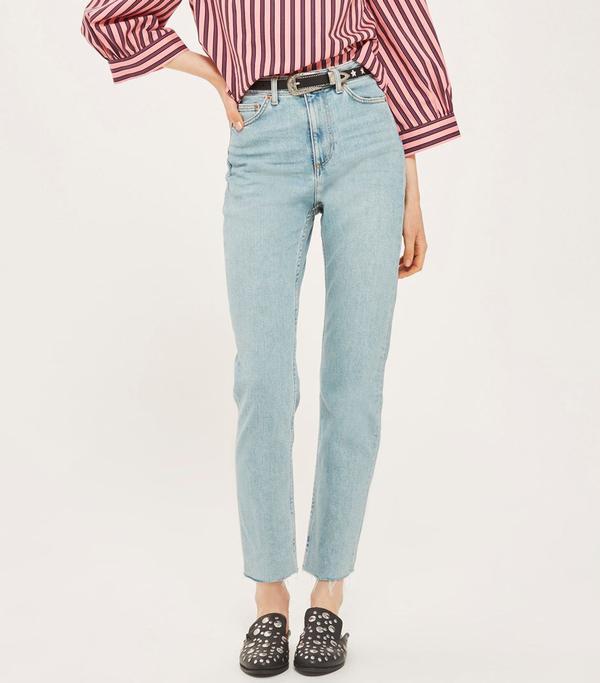 Topshop MOTO Vintage Bleach Straight Jeans
