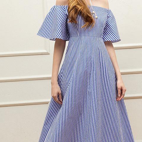 Cheryl Stripe Off-the-Shoulder Dress