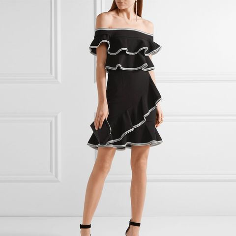 Courtside Off-the-Shoulder Ruffled Stretch-Cloqué Mini Dress