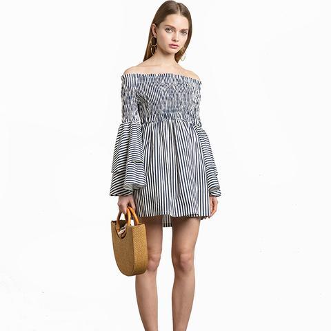 Striped Smocked Off the Shoulder Dress