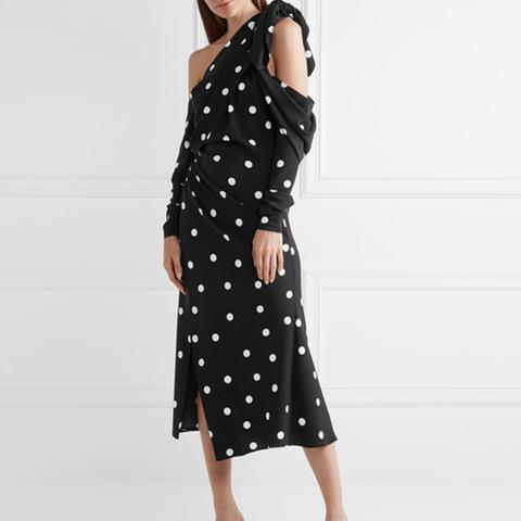 Cold-Shoulder Polka-Dot Silk-Blend Crepe Midi Dress