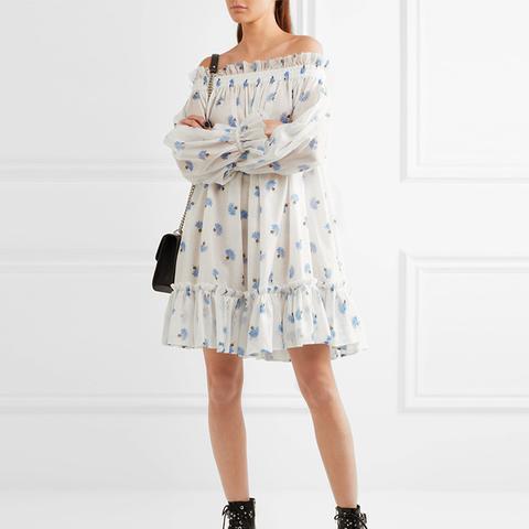 Off-the-Shoulder Floral-Print Cotton-Voile Mini Dress