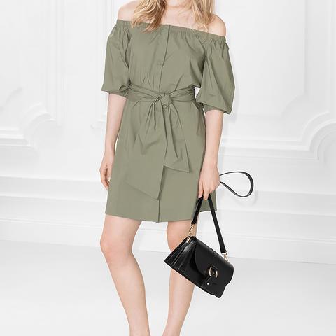 Buttoned Off-Shoulder Dress